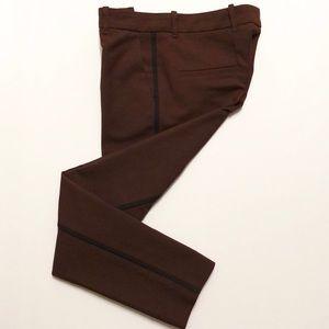 Zara Burgundy And Black Straight Leg Tuxedo Pants